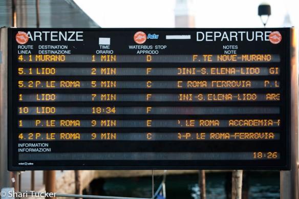 Vaporetto signage in Venice